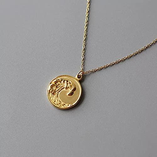 N/A Colgante de Collar de Mujer Diseñe Collares estereoscópicos de la Moneda del Collar del Acero Inoxidable sin deslustre para Las Mujeres