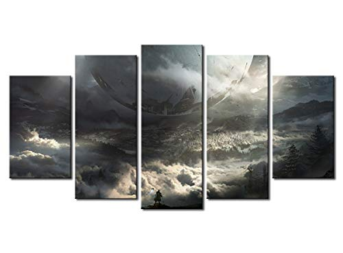 Yansang Modular Pictures Wall Art Prints 5 Pieces Game Destiny 2 Star Scenery Canvas Movie Painting Home Bedside Background Decor Modern Artwork Poster (with Framed,32in x60in)