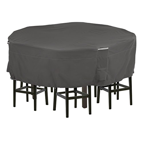 Classic Accessories Ravenna Water-Resistant 94 Inch Tall Round Patio Table & Chair Set Cover