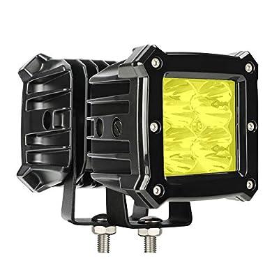 Yellow Led Pods Light Bar – 3.4 Inch 40W Square Work Driving 12V/24V Fog Cube Light Waterproof Spot Beam for Truck Pick-up Boat Off-Road ATV UTV Golf Cart Trailer 4X4 Motorcycle (Pack of 2)