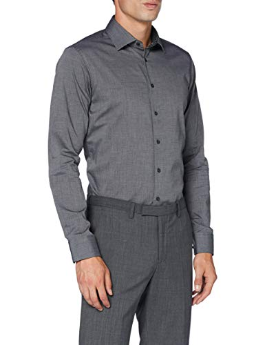 Seidensticker Herren Business Hemd, Grau (Dunkelgrau), 42