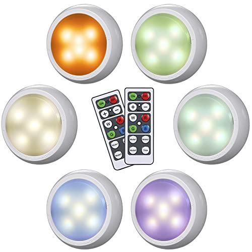 Splenssy 6 Pcs de armario con mando a distancia,USB, RGBW, LED, regulable, 10 niveles de luminosidad, 3 modos de iluminación, luz nocturna multicolor para gabinete, pared de mostrador, armario