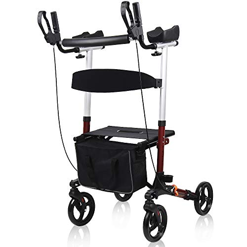Give Me Upright Walker, Stand Up Folding Rollator Walker - Backrest Seat, Padded Armrests, Detachable Bag for Seniors and Adults (Red, Small)