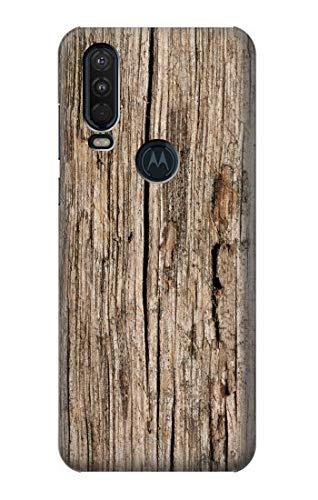 Innovedesire Wood Graphic Printed Hülle Schutzhülle Taschen für Motorola One Action (Moto P40 Power)
