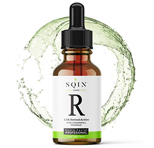 Serum de Retinol Facial, 2.5% Concentrado, Ácido Hialurónico, Vitamina E, Áloe Vera, Aceite de Jojoba, Té verde, 30ml, Serum Facial, Antiarrugas, Líneas Finas, Manchas, Antienvejecimiento, Antioxidante, Piel más Bella, Radiante y Suave, antiedad, SQIN LUXIENA