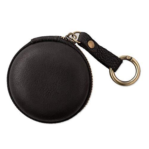 Porte Clef Femme Porte-monnaie en cuir véritable vintage fait main petite pomme AirPod couverture écouteur Porte-câble porte-clés porte-clés Sac Case (Color : Round Black)