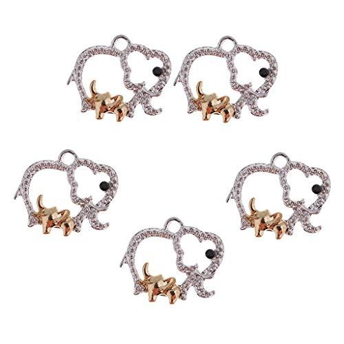 D DOLITY 5 unidades con forma de elefante para collar y colgante de ropa.