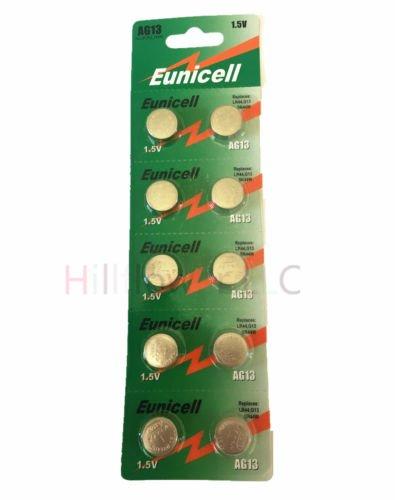Hillflower 10 Piece AG13 LR44 LR1154 G13 357A Card 0% Hg 1.5V Long Duration Alkaline New Battery