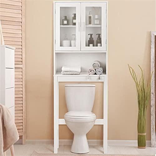 Poazmron Mueble de baño encima del aseo, estantería sobre inodoro, mueble de baño ahorra espacio con estantes y doble puerta, 170 x 58 x 18,5 cm, blanco