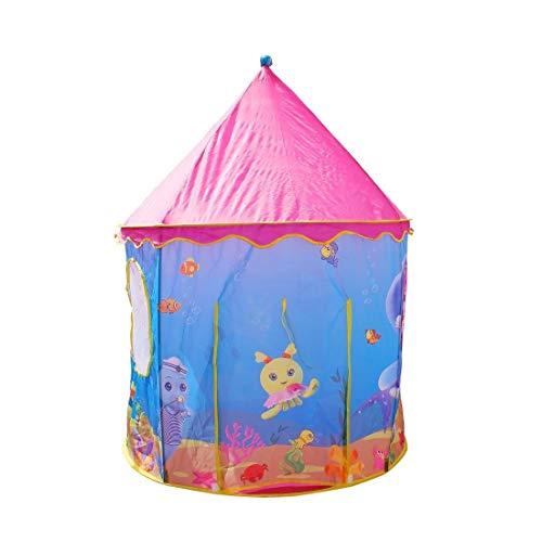 JCXOZ Plegable Pop Up Kids Play Tent Juguetes for niñas Princesa Castle Tienda del Juego de Regalo Teatro Infantil for niños de Interior Juegos al Aire Libre (105x105x135cm) (Color : Blue)