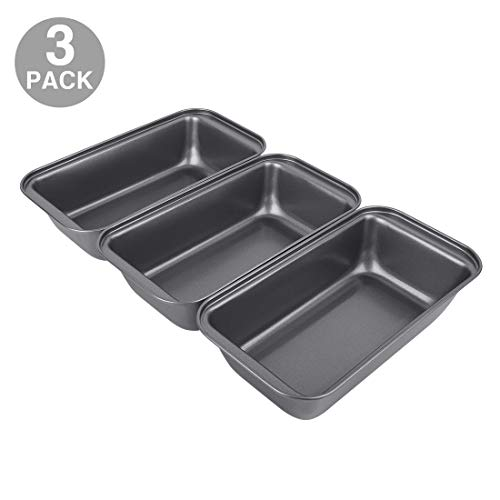 "Nonstick Carbon Steel Baking Bread Pan, Medium Loaf Pan, 8 1/2"" x 4 1/2"", Set of 3"