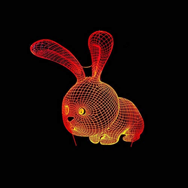 Laofan 7 Farbwechsel Tisch Tier Lampe Hause Nacht 3D Led Nachtlicht Kaninchen Beleuchtung Dekor Kinder Geburtstagsgeschenke,Berührungsschalter