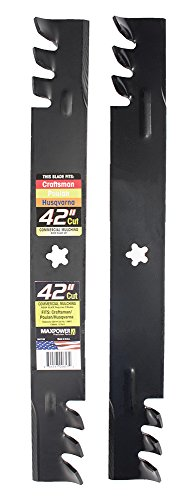 Maxpower 561713XB Commercial Mulching 2-Blade Set for 42' Poulan/Husqvarna/Craftsman, Replaces 138498, 138971, 138971x431, 532138971, PP24005, Black