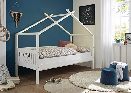 möbelando Kinderbett Jugendbett Bett Kinder Kinderbett Liliane I Weiß