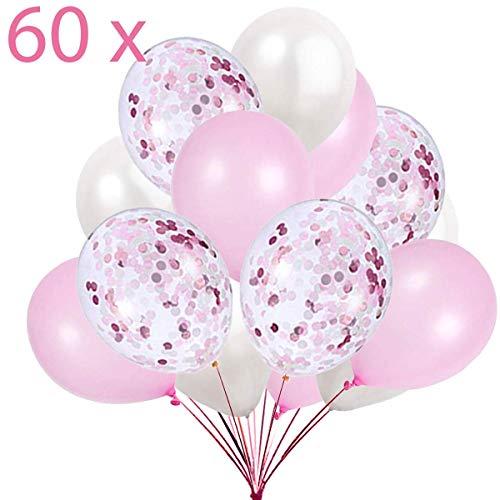 60 Luftballons Rosa Weiß und Konfetti Ballon Premiumqualität Partyballon Deko Pink Dekoration fur Geburtstag , Baby Dusche Party, Baby Shower
