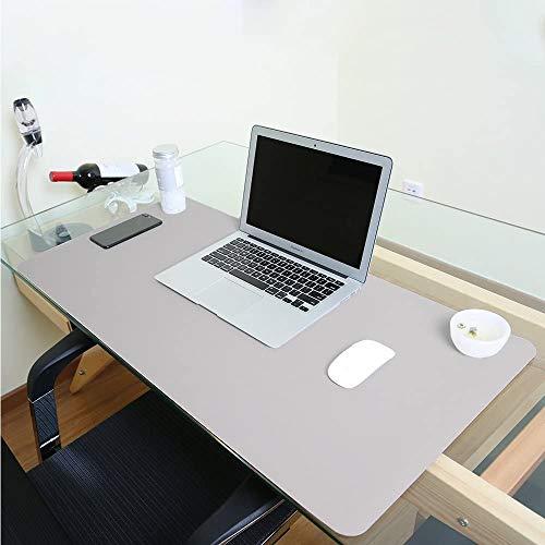 Alfombrilla de escritorio grande, impermeable, de piel sintética, para ratón y otros accesorios, suave, para la oficina y el hogar, rectangular, color gris M