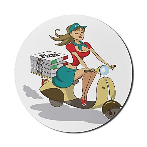 Scooter Mouse Pad für Computer, Cartoon-Zeichnung von Pizza liefern Frau im Rock auf ihrem Fahrzeug mit Lebensmittelboxen, rundes rutschfestes dickes Gummi Modern Gaming Mousepad, 8 'rund, mehrfarbig