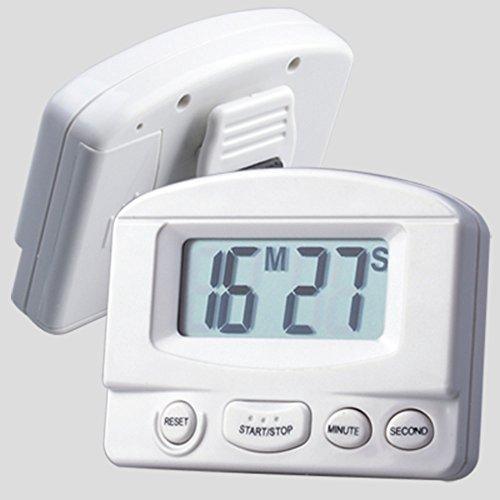 Ecloud Shop® Temporizador de Cocina Digital, Segundo Minuto de Cuenta atrás, Mini Temporizador de Alarma Digital con Gran Pantalla LCD y Montaje magnético y de Clip, Blanco