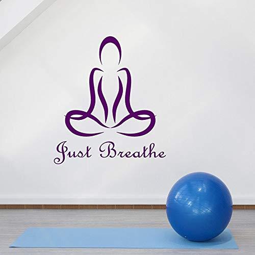 WERWN Lotus Pose Tatuajes de Pared Solo Respira Cita Pegatinas de Vinilo Estudio de Yoga Sala de meditación Gimnasio decoración de Interiores Papel Tapiz Abstracto