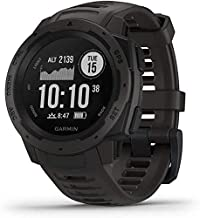 Garmin Instinct, Outdoor Watch with GPS, Includes Heart Rate Monitoring and 3-axis Compass, Graphite + 1 Year Extended Warranty