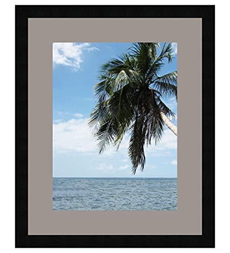 Photo Frame con Passepartout Grigio TV per un'immagine 25x35 o 35 x 25 cm Cornice portafoto Nero, 3 Centimetri Largo, Foto Struttura in Legno