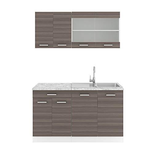 Vicco Küchenzeile Single Einbauküche 140 cm Küchen Hochglanz R-LINE (Edelgrau)