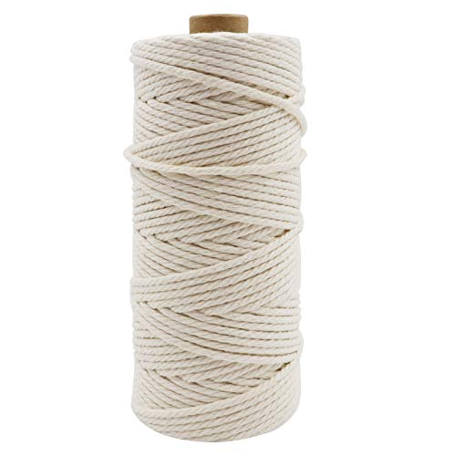 328ft Cotton Macrame Cord 3mm, Owlbbabies Not Dyed Natural Cotton Rope 4-Strand Soft Macrame Rope for Wall Hanging, Plant Hanger, DIY Crafts, Knitting, Home Decorations, Boho Wedding Decor