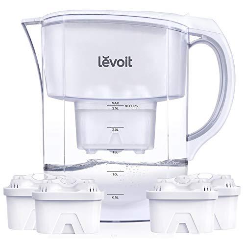 Levoit Wasserfilter 3.5 L Filterkanne XL inkl. 4 Aktivkohle-Filterkartuschen, Filter mit 5-Stufen Filtration zur Reduzierung von Kalk,Chlor und geschmacksstörenden Stoffen im Leistungswasser,BPA-frei