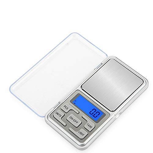 Báscula digital de bolsillo, pantalla LCD portátil de pesaje portátil de mini escala de bolsillo, para alimentos de cocina, joyería, medicamentos, café, levadura, té, joyas y paquetes pequeños