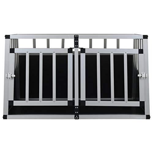 Festnight Jaula de Perro de Aluminio y MDF con Puerta Doble 89x69x50 cm