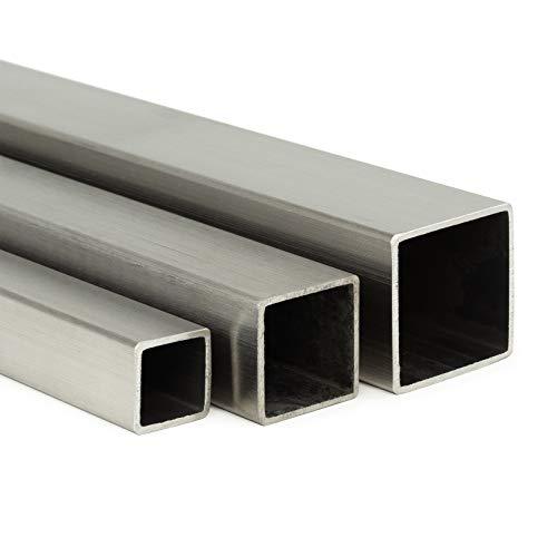 Edelstahl Vierkantrohr V2A K240 | BxHxS 20x20x2mm L: 1000mm (100cm) Zuschnitt