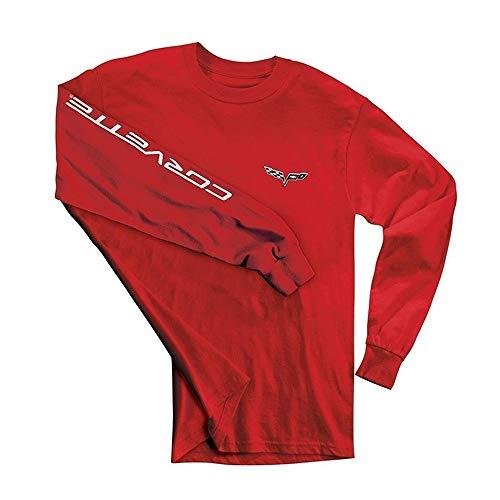 C6 Corvette Men's Long Sleeve Shirt w/Corvette Script on Sleeve (XX-Large, Red)