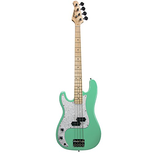 Sawtooth EP Series Left-Handed Electric Bass Guitar, Surf Green w/Pearl Pickguard