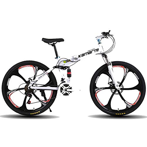 DRAKE18 Bicicleta de montaña Plegable, 26 Pulgadas, 27 velocidades, Velocidad Variable, Todoterreno, Doble amortiguación, Doble Disco, Frenos, Bicicleta para Hombres, Montar al Aire Libre, Adulto