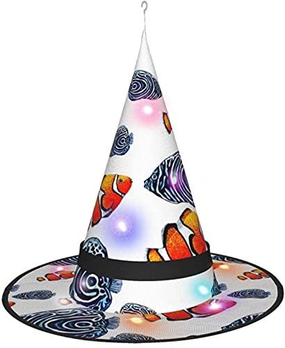 KINGAM Sombrero de bruja de pescado tropical con luz, para Halloween, fiesta de disfraces, disfraz de cosplay, accesorio y diario