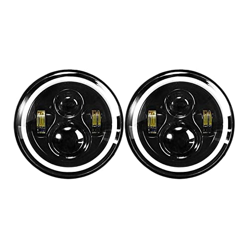 SUNYANG Summer Solstice Linterna LED De 7 Pulgadas con Anillo De Halo Amber DRL Señal De Giro 120W Ajuste para Suzuki Samurai SJ413 SJ410 1980-1985 (Color : Black)