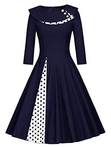 JIER Damen 50er Jahre Vintage Langarm KleidRockabilly Kleid Knielang Festlich Kleid Faltenrock mit Gepunkt Elegant A-Linie Petticoat Kleid Cocktailkleid (Dunkelblau,Small)