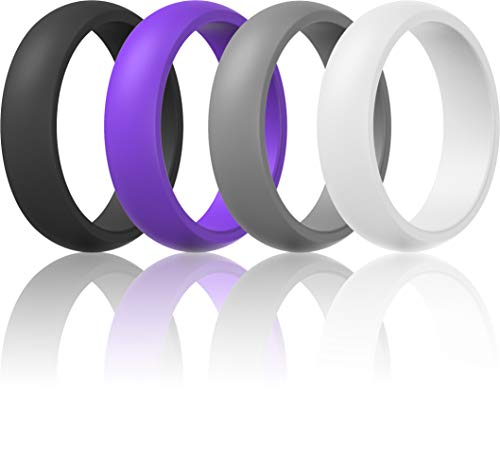 Womens Valentine's Day Gift-Silicone Wedding Ring Band - 4 Rings Pack - 5.5mm Wide (2mm Thick) - Purple, Grey, Black, White