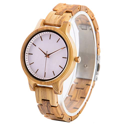 Reloj de Madera Grabado para Mujer, Reloj de Pulsera de Madera de Cebr