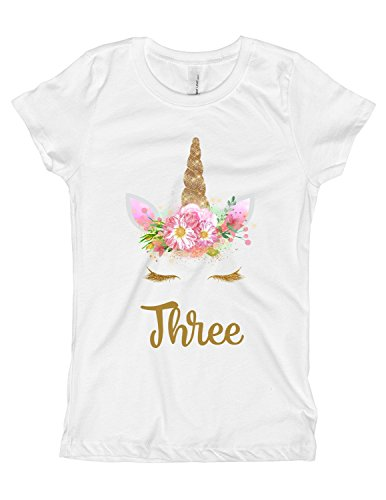 Girls Pink and Gold Unicorn Birthday Shirt Any Age OR Name 8