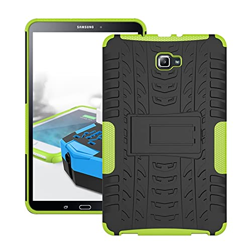 Tablet Protective Case Tablet Cover for Samsung Galaxy Tab A 2016 10.1/P585/P580 Tire Texture Shockproof TPU+PC Protective Case with Folding Handle Stand (Color : Green)