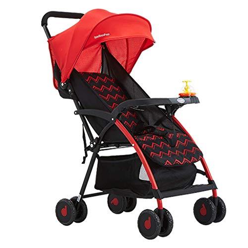 N/ A Landau et Poussette pour Tout-Petits Siège Confort Pliable et léger,Assis ou allongé pour Les 0-3 Ans Baby Red Blue(Couleur:Rouge)
