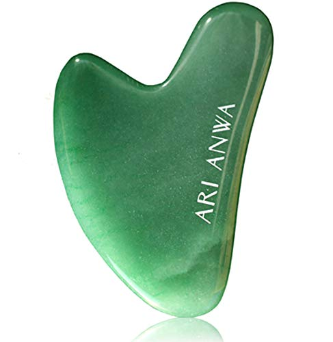 ARI ANWA Skincare ® Premium Gua Sha Jade Massagestein | Handgefertigt aus 100% echter Jade | GRATIS Samtbeutel & E-Book | Robust, Effektiv & Hochwertig - Gua Sha Stein | Gua Sha Schaber Jade