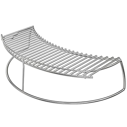 only fire Stainless Steel Warming Cooking Rack Fits for Charcoal Kettle Grills Like Weber,Char-Broil and Ceramic Grills Like Large Big Green Egg,Kamado Joe Classic,Pit Boss K22,Louisiana K22,17 3/4'