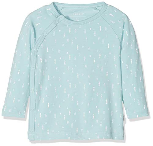 NAME IT Unisex Baby NBNDELUCIOUS LS WRAP TOP NOOS T-Shirt, Blau (Canal Blue), 56