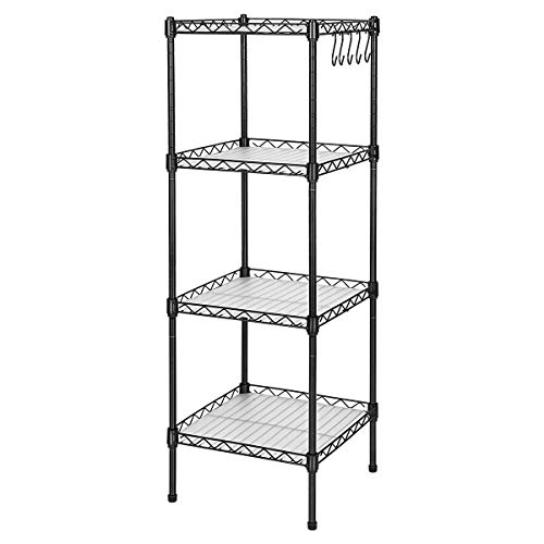 exilot Storage Cart 4-Tier Slide Out Rolling Utility Storage Organizer Shelf Rack, Mobile Shelving Organization and Storage for Bathroom Kitchen Laundry Pantry Office Narrow Places