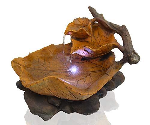 Arnusa Zimmerbrunnen Herbstlaub mit LED Beleuchtung Springbrunnen Gartenbrunnen Wasserspiel