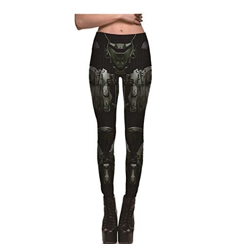My Lover Vintage Style 3D Print Leggings Black Armor Robot Yoga Pants Workout Crazy Leggings for Women,L