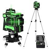 Niveau Laser 360° 3D 12 Lignes KKmoon® Avec Batterie au Lithium Intégrée et Support Rotatif, Auto-nivelant avec Support de Trépied de Barre d'extension d'alliage Réglable de 3 Hauteurs de 1,5 m et Sac