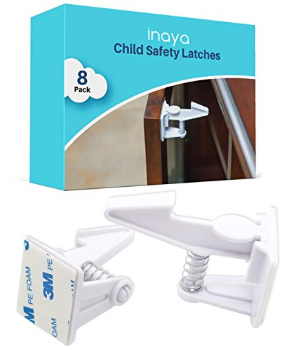 Cabinet Locks Child Safety Latches (8 Pack) - Baby Proofing Cabinets & Drawers Locks - Child Proof Your Home - No Drilling & No Tools Required!